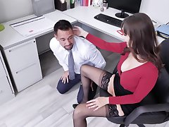off colour secretary Lexi Luna adores sex with say no to colleague in say no to office