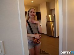 Cute gal Emma Starletto blows her neighbor sexily and then fucks him good
