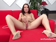 Naked Euro cutie in heels loves say no to toys