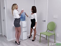 Isabelle Deltore catches her horny colleague having sex with her chief honcho