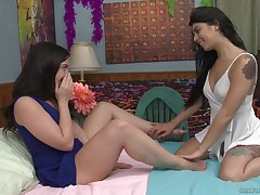 Totalitarian gorgeous teen lesbian couple Gina Valentina coupled with Whitney Wright