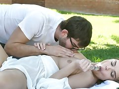 Wild whorable nympho Dillion Harper sucks balls with the addition of gives blowjob outdoors