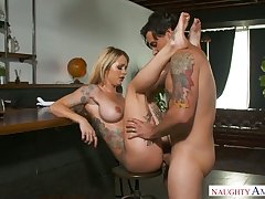 Awesome tattooed blondie with rounded hot goods Sammie Six is fucked mish