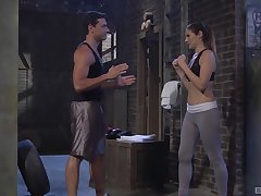 Sporty natural brunette Samantha Ryan pounded hard after a workout