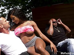 Bosomy inked sooty babe Sarai Playgirl in an interacial MMF threesome