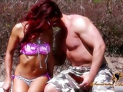 Wild bitch Nikki Lips is fucked by one kinky stranger superior to before the beach