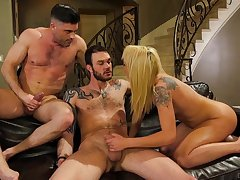 Cute tattooed chick gets wild round two bisexual dudes