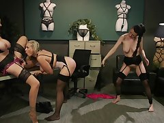 Hardcore lesbian strap on threesome on touching Julia Ann and her sluts
