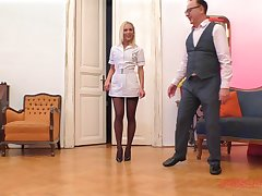 Fair-haired nurse in nylons Cecilia Scott blows and rides an older impoverish
