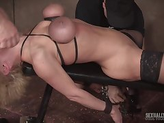 Mature blonde in high heels Dee Williams abused by twosome guys