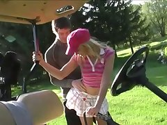 Horn-mad golf player Candy Pat is eager to suck delicious cock outdoors