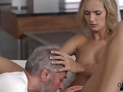 Old4K. Dad and his 18-year-old blond crawl girl fit together make amazing love