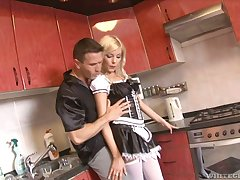 Romanian blonde fro XXX maid outfit Donna Bell gets her anus fucked hard