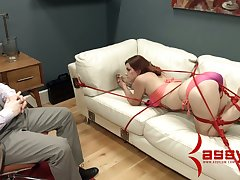 Kinky dude in befog fucks face and anal aperture of tied up shibari babe