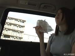 Fine-grained Japanese amateur seduced in a car and pussy teased