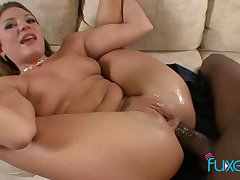 Chesty torrid whore fingerfucks her wet pussy while BBC tears her anus