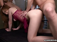 Asian promised babe Aimi Ichijo gets her pussy fucked and creampied