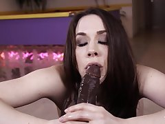 Sexy slut beside tight lace chokes on a big black cock