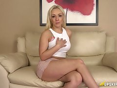 Juggy blonde Amber Deen shows off her yummy anus added to titbit looking pussy