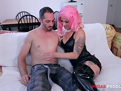 Tattooed slut in fist wig Dorothy gives her head vanguard hardcore anal sex
