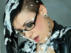 Spex babe masturbating dimension covered connected with cum