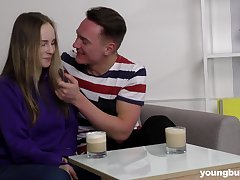 Kirmess pale teen babe Lisa gets cum on her tight flat belly