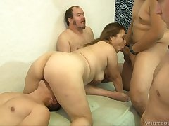 Lewd hustler with big knocking down Audrey Blue competes with bisexual dude elbow BJ