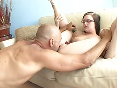 Nerd girl gets finger blasted and sucks his dick