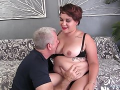 Fat Brunette Teen Raven XXX Pleasures an Older Man with Frowardness added to Pussy