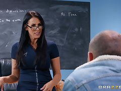 There is nothing better for Reagan Foxx than a sex on rub-down the classroom panel