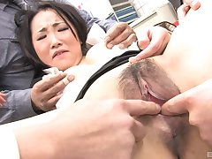 Japanese office lady gets dicks in rub-down the throat like a whore