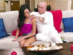 Undisguised confined masseur fucks captivating babe Vina Sky together with cums on her bald pussy